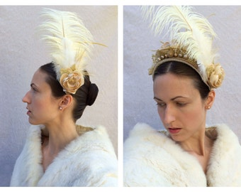 Custom Made to Order Ivory Gold and White Renaissance Headpiece Rococo Baroque Tudor Ostrich Feather Floral Fascinator Costume Felt Hat SOLD