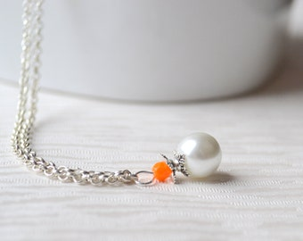 Burnt Orange Bridesmaid jewelry necklace orange jewelry necklace Bridesmaid gift jewelry wedding party crystal necklace Flower girl necklace