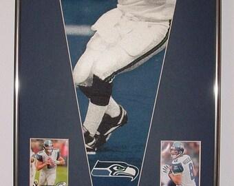Seattle Seahawks Matt Hasselbeck Pennant & Cards...Custom Framed!!