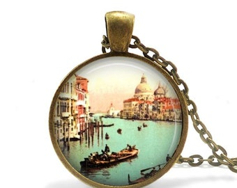Venice necklace Italy travel gift gondolier pendant necklace vintage image of Venice.