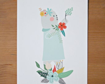 Teddy Bear and Flowers Print