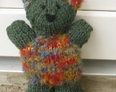 Knitted bear soft  plush green toy, handmade teddy bear kids toy plush- green teddy bear plush toy - janisknitpurl