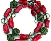 Rustic Red Coral Bronze Statement Necklace, Long Chunky Colorful, Natural Stone Jewelry, Semiprecious Stone Beads, OOAK Handmade Unique