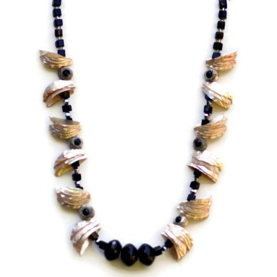 formal black white necklace semiprecious onyx