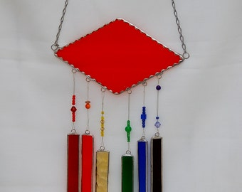 Stained Glass Wind Chimes Orange with Rainbow of Colors and Decorative Glass Beads
