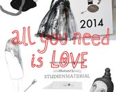 Weekly Planner 2014 STUDIENMATERIAL Calendar, Agenda Diary 2014 with Illustrations