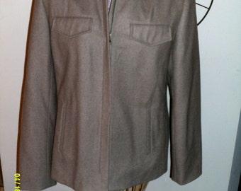 Womens Vintage Tan Wool Zip Jacket, size Med. (8-10), by J. Crew, Wool Jackets 10
