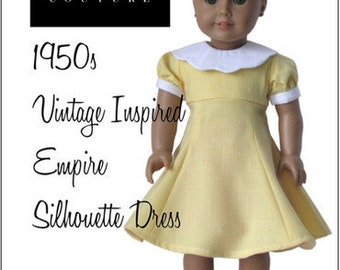 Pixie Faire Eden Ava 1950's Silhouette Dress Doll Clothes Pattern for 18 inch American Girl Dolls - PDF