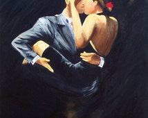 "Tango dancers Art print on paper, Dancing couple dressed in black with dramatic black background titled :""When We Tango"" 8x10 Gift under 25"