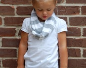 Grey and White Stripe Toddler Infinity Scarf