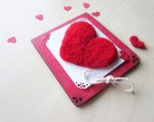 Personalized Anniversary Card, Felted Heart Card, Unique OOAK,Gift for Him / Her, 3D Gift love Card,Felt Greeting Card,Felted Heart Card