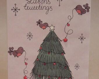 Christmas tree robins Christmas card