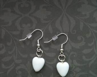 Earrings.  White Hearts.  Silver Plated Ear Wires.