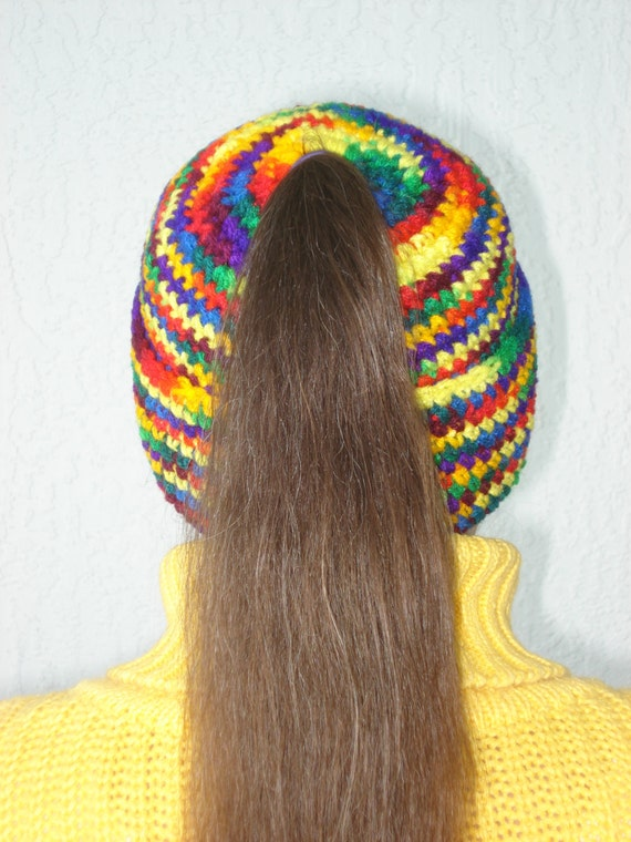 Free Crochet Pattern Ponytail Hat : Handmade crochet Ponytail Hat Festival of Colors