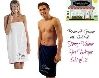 Set of 2 Spa Wrap Terry Velour  Bride and Groom Monogram Custom Embroidery  Wedding Gift