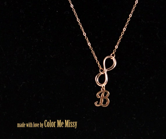 Personalized Infinity necklace - letter, initial, rose gold filled, personalized jewelry, forever love, sister, bridesmaid -  N0028RG