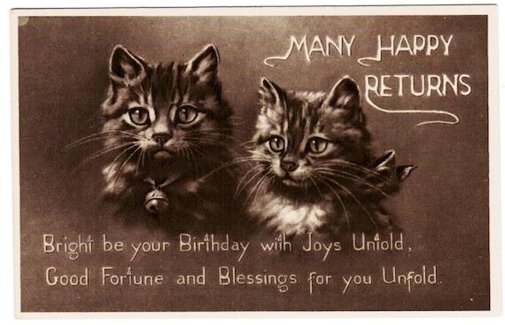 vintage birthday cats cat - photo #14