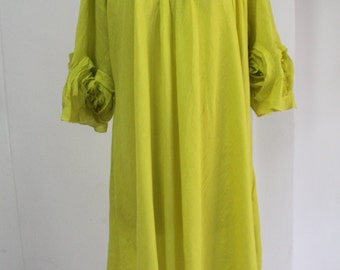 Free ship - Neon Lime Plus Size Top 4X Tunic Pleated Neckline Flowing Hem
