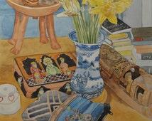 Original Art Watercolour 'Still Life With Mum's Vase'