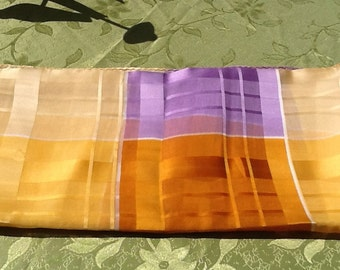 Delightful Yellow and Purple synthetic muslin Scarf. Free shipping