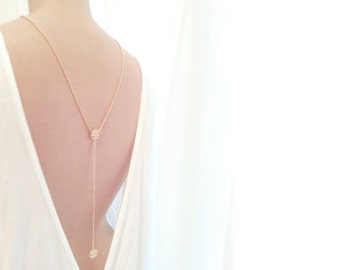 Gold Back Necklace, Back Chain, Backdrop Necklace, 20's Look, Back Drop Necklace, Lariat Back Necklace - b a c k. c a m e l l i a