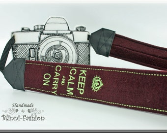Camera strap DSLR, camerastrap, KEEP CALM.... wool fabric, choose color