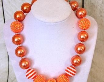 Halloween chunky necklace orange white necklace Halloween girls necklace bubblegum necklace girls toddler birthday chunky pearl rhinestone