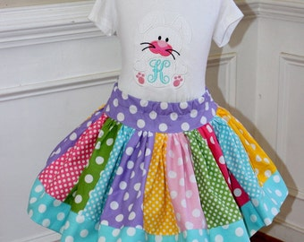 Girls Easter outfit Easter outfits girls Easter bunny pastel polka dot clothing monogrammed shirt and skirt set chevron polka dot clothing