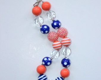 Clemson tigers football chunky necklace girls bubblegum necklace blue and orange football pendant necklace Denver Broncos necklace for girl
