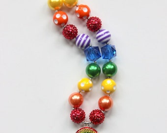 girls rainbow chunky necklace birthday bubblegum necklace summer rainbow chunky bubblegum bead necklace rainbow necklace girls necklace