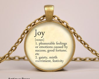 Joy Dictionary Definition Pendant Necklace or Keyring Glass Art Print Jewelry Charm Gifts for Her or Him