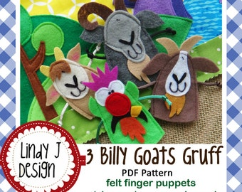 3 Billy Goats Gruff Felt Finger Puppets Sewing Pattern – PDF ePATTERN