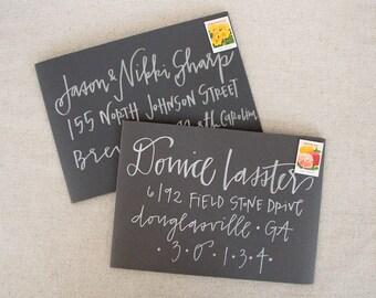 Wedding Calligraphy Envelope Addressing - Silver Modern Calligraphy