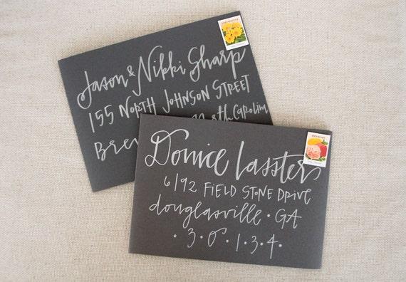 Wedding Invitation Envelope Calligraphy: Wedding Calligraphy Envelope Addressing Silver Modern