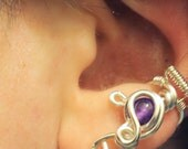 Small Amethyst Siver Ear Cuff