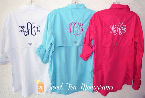 White women 39 s monogrammed bahama columbia pfg by for Columbia shirts womens pfg