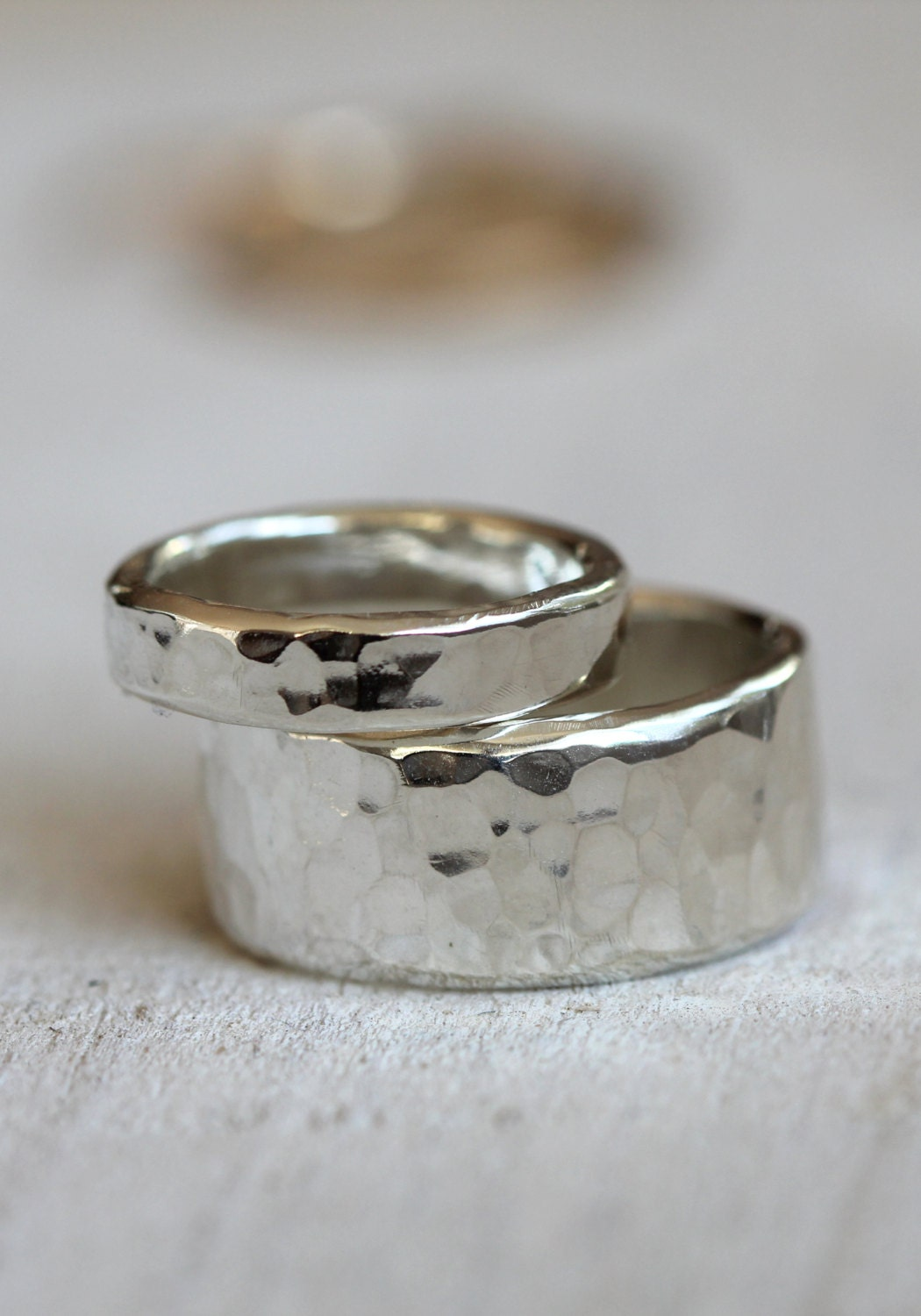 wedding ring set sterling silver hammered rings