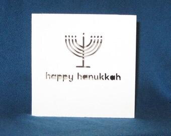 Hand Cut Happy Hanukkah Menorah Card