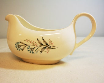 Mid century gravy boat-cream ceramic with blue flowers-retro serving ware-cornflowers-pink posies-gray stems