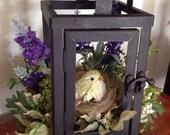 Little Bird House Lantern Floral Arrangement - Home Decor - Artificial Flowers