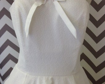 1950s Style Diamond White Lace Wedding Dress Rockabilly Size 12