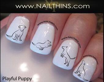 German shepherd dog nail art nail decal nail design puppy nail decal dog nail art pup nail designs nailthins prinsesfo Image collections