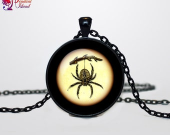 Spider necklace Spider pendant Spider necklace Halloween jewelry Trick or Treat Halloween Pendant Halloween  jewelry black yellow beige