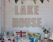 Lake House Canvas Covered Letters, Nautical Decor, Typography, Large Letters, Home Decor, Cottage