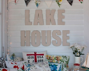 Custom Signs, Lake House Canvas Covered Letters, Nautical Decor, Wall Signs,  Home