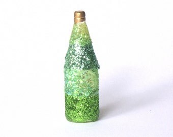 Decorative Miniature Bottle in Shades of Green for your Dollhouse