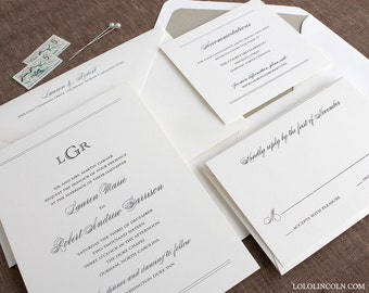 Preppy Monogram Wedding Invitation