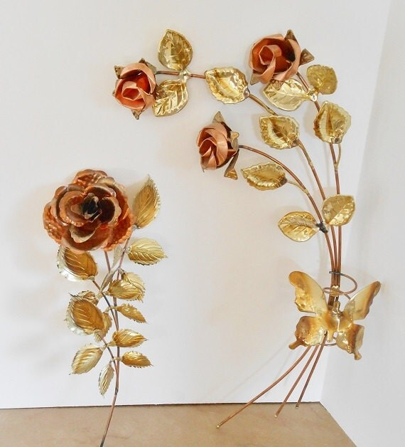 Copper Wall Art Home Decor ~ Rose wall decor from home interior brass copper plated