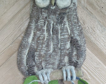 Wall sculpture.Needle felted Owl. Animal. Handmade, Needlefelted. Picture.Home decor.Grey.