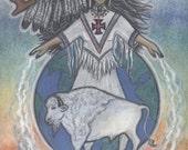 White Buffalo Calf Woman Sacred Spirit Symbol Portrait by Shamanic artist healer Azurae Windwalker